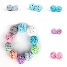 * 10 pièces en bois naturel Crochet perles à croquer dent soins infirmiers collier perles de dentition bébé dentition jouets bébé douche cadeaux