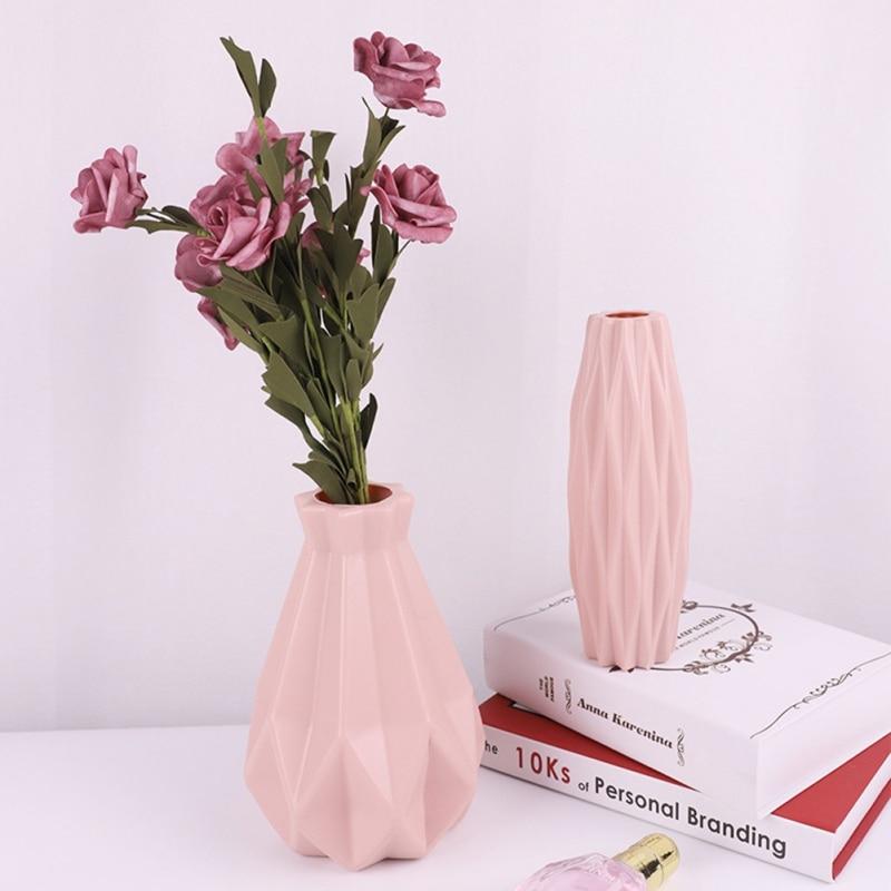 Origami plástico pantalón flores jarrones imitación cerámica flor maceta cesta Estilo nórdico decoración mesa plantas hogar Bonsai Decoración
