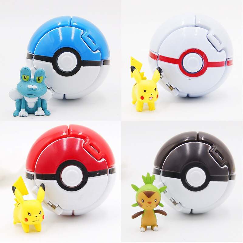 TAKARA TOMY Pokemon 4 unids/lote Elf agarrando los juguetes de Poke Ball Pikachu Elf Balls 7CM película de dibujos animados con Pikachu figuras Juguetes