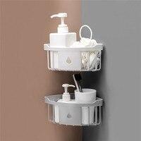 Plastic bathroom storage Corner Storage Rack bathroom wall organizer Shower Shelf household items suction shelf soap holder