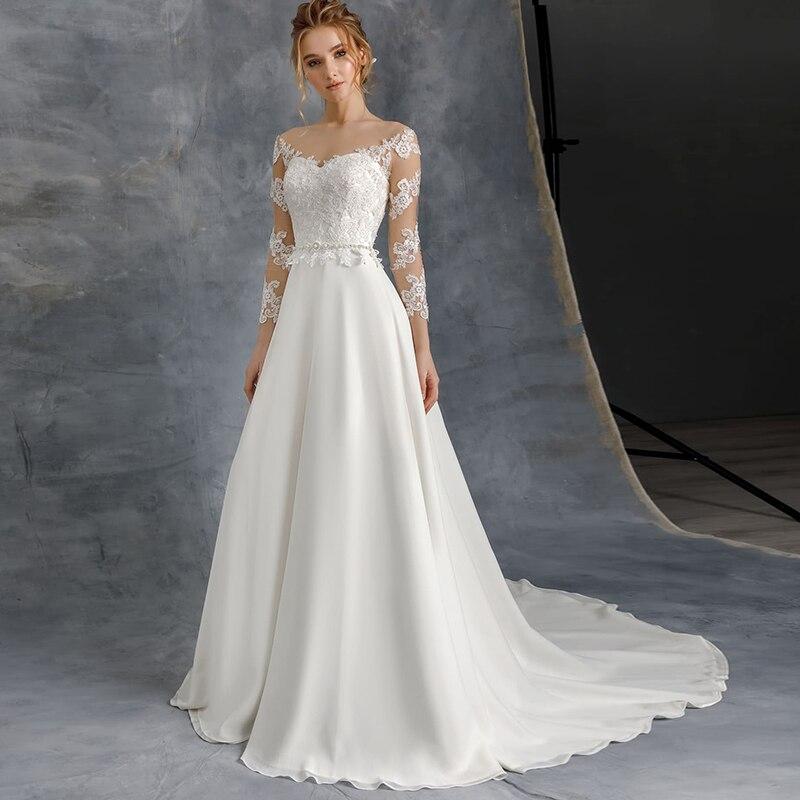 خامة من الدرجة الأولى 3/4 أكمام فستان زفاف رقبة سكوب دانتيل زينة Vestido De Noiva فساتين زفاف شيفون