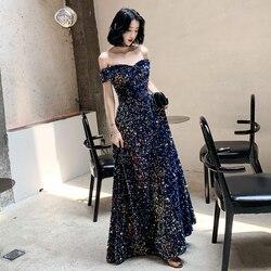 2020 nova listagem fora do ombro lantejoulas vestido de noite longo parágrafo vestido de noiva moda festa temperamento elegante vestidos de baile