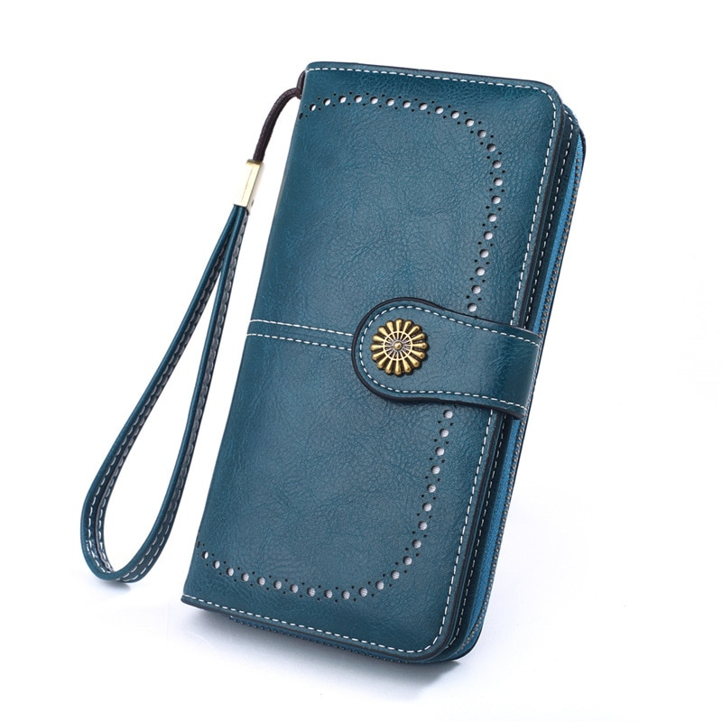Cartera de mujer de moda 2019 nueva Vintage Cremallera larga bolso de teléfono móvil piel Clutch Card