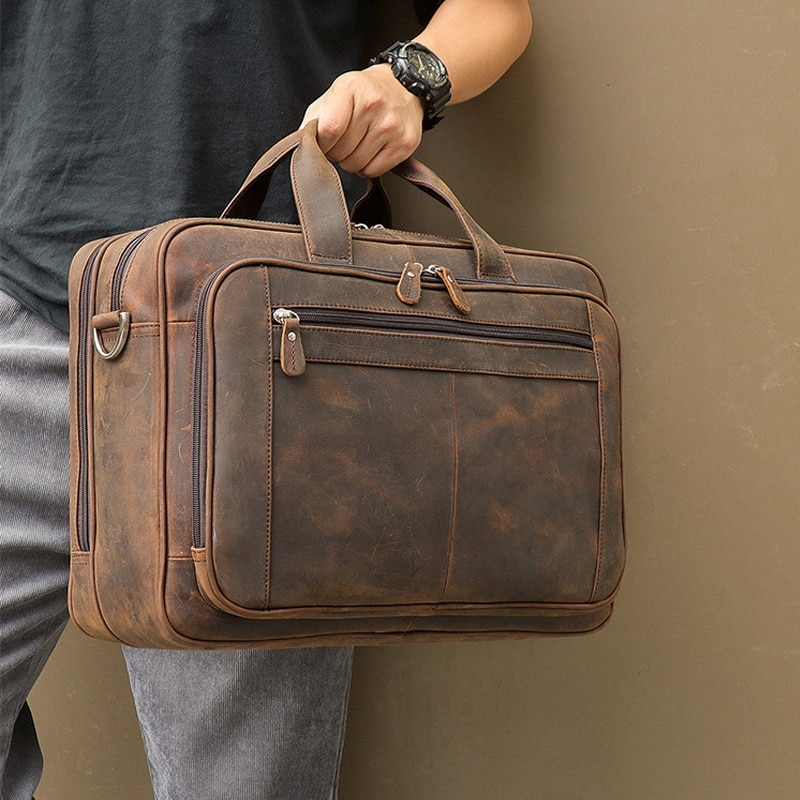 MAHEU Top Qaulity Brand Briefcase Bag For Men Male Business Bag Vintage Designer Handbag Laptop Briefcase Crazy Horse Leather