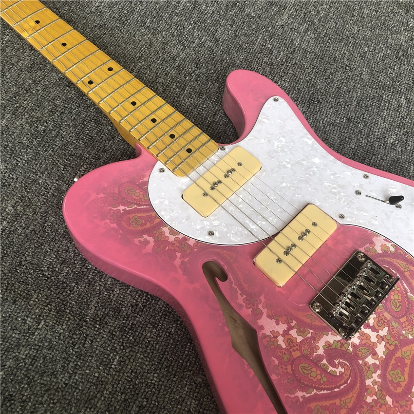 Coral paste electric guitar. Pink. Cow bone string pillow. Nitro paint. Real photos. Free shipping enlarge