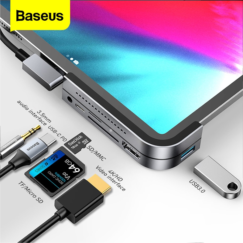 Baseus USB C HUB لباد برو 12.9 11 2018 نوع C HUB إلى HDMI USB 3.0 PD ميناء 3.5 مللي متر جاك USB-C USB HUB محول للحاسوب النقال برو