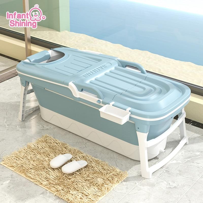 Infant Shining Baby Bathtub Large 152cm Folding Shower Tub Portable Thicken Keep Warm Home Bath Tub Adult Foldable Bathtub