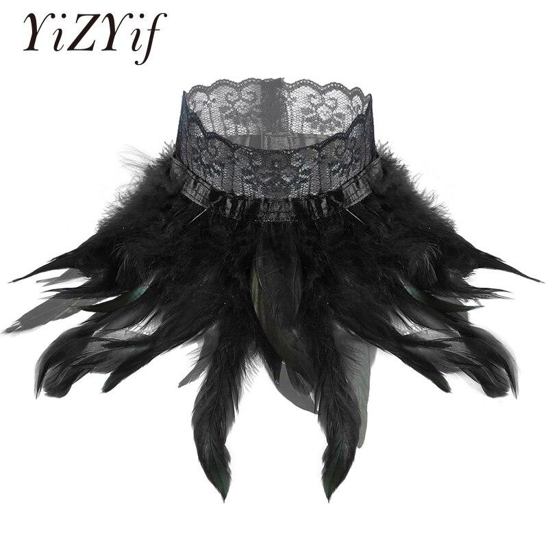 Las mujeres gótico victoriano de pluma Natural de gargantilla de encaje cuello envolvente actuación escenario de Cosplay traje accesorios gargantilla pluma