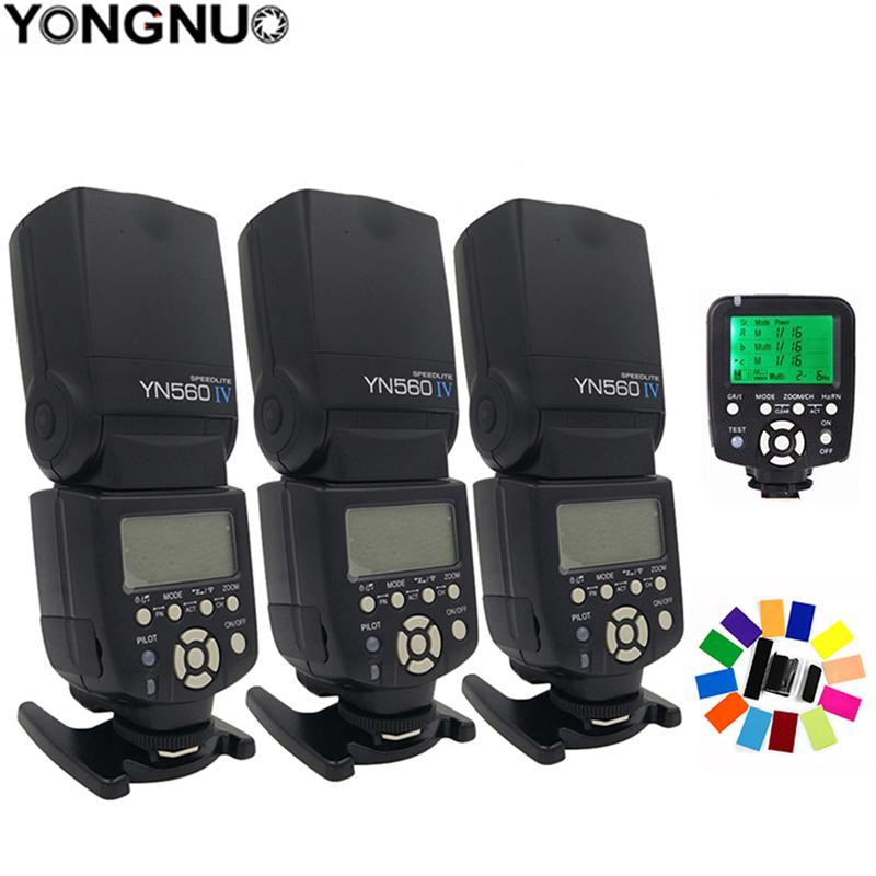 3x لاسلكي Speedlite فلاش Yongnuo YN560 IV + YN560TX فلاش تحكم لكانون نيكون مع صندوق 3 فلاش الناشر الحرة