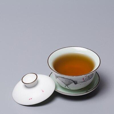 فرن سيراميك مرسوم باليد Sancai غطاء وعاء الشاي الكونغ فو Dahongpao teبينة الرجعية السيراميك Celadon وعاء الشاي الصغيرة درينكوير