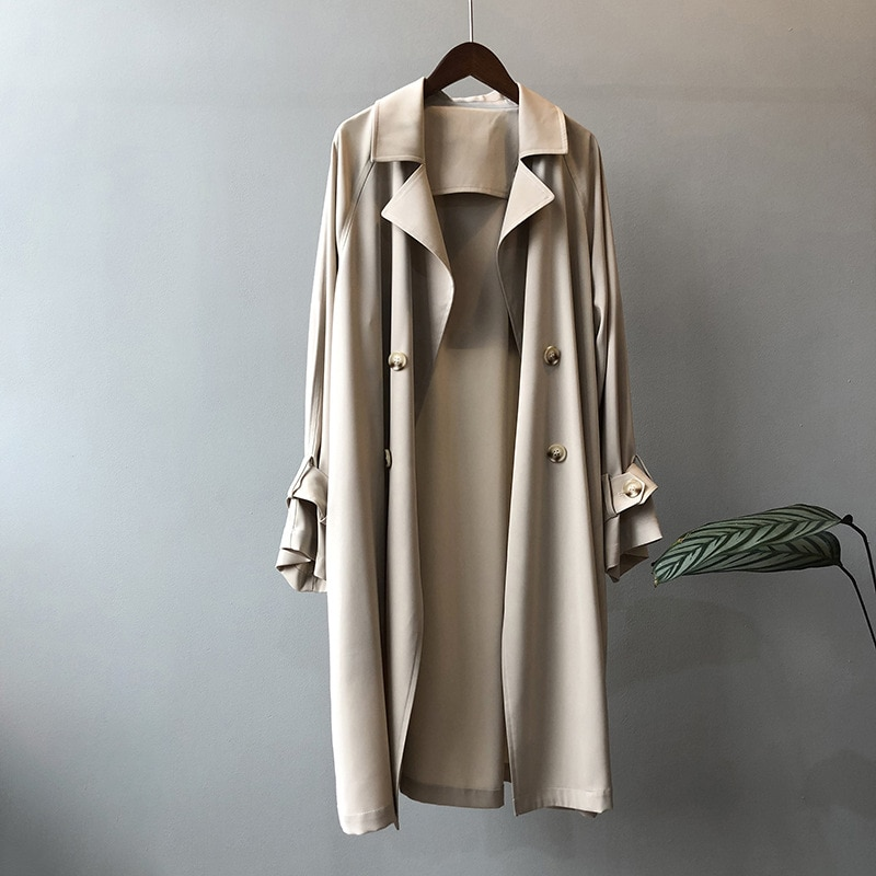 CMAZ 2021 Spring Autumn Long Trench Coat Women Loose Trench Coats Double Breasted Casual Female Outw