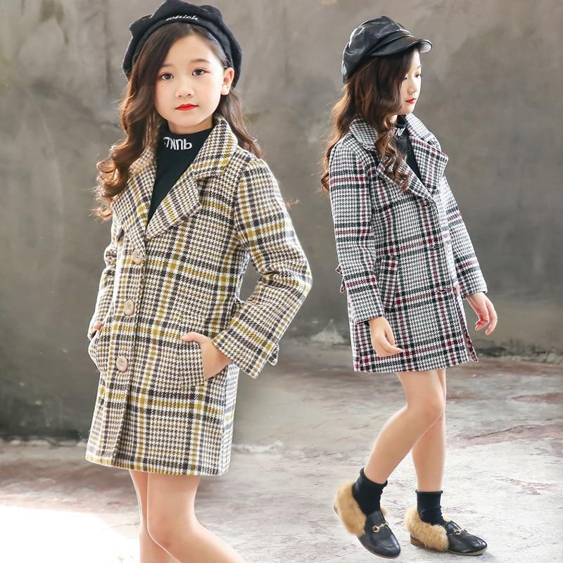 Kids girl Lady Winter fashion lattice Hairy wool coat for girls Teens  autumn jacket warm long outerwear Children clothing 3-12y