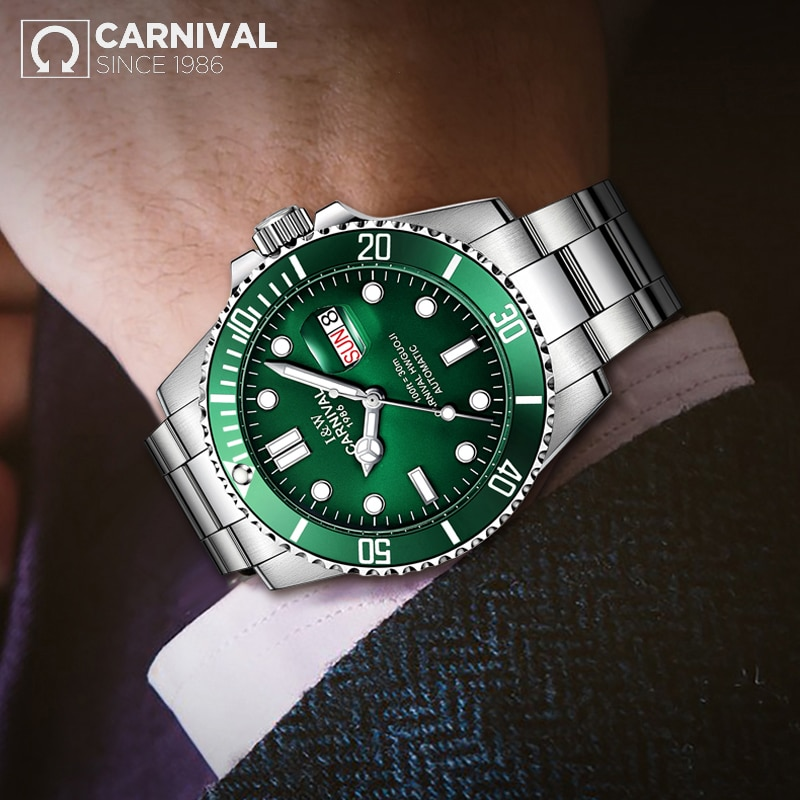 CARNIVAL New Men's Business Green Dial Luminous Pointer Waterproof Calendar Stainless Steel Strap Automatic Watches Reloj Hombre enlarge