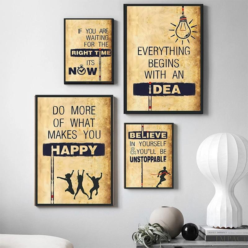 Надеюсь, успех верьте времени, счастливая фотография, Картина на холсте, настенное искусство, ретро постер, офис, домашний декор