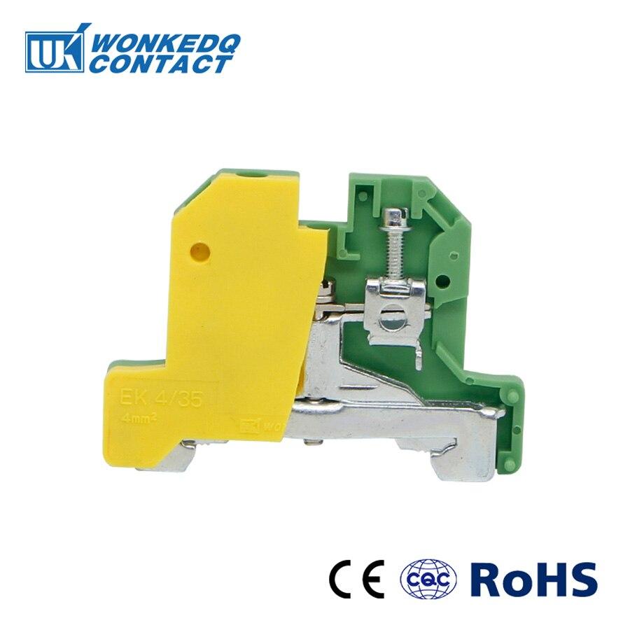 10Pcs  EK-4/35   Weidmuller  Connector Ground  Screw Connection Din Rail Terminal Blocks EK4/35