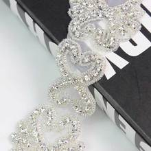 10Yds mariée mariage Applique argent coeur forme strass garniture cristaux perlés pour les femmes robe soirée bal vêtements