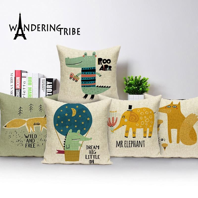 Funda de cojín con estampado de animal de dibujos animados funda de almohadas de Casa decorativas abstractas funda de almohada de elefante León decoración de sofá cama cojines de coche