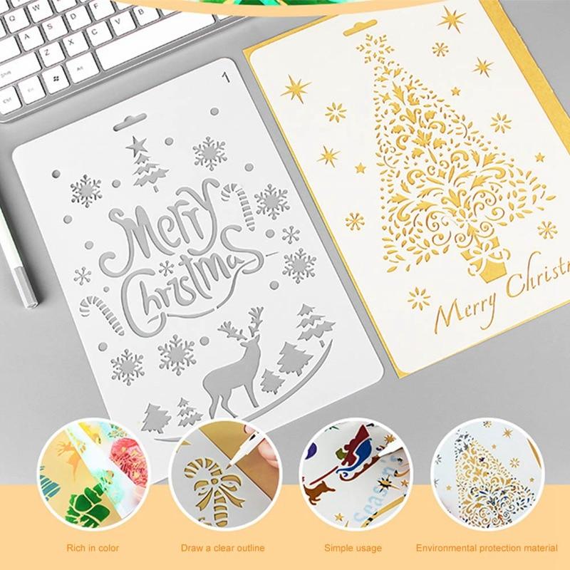 1 Pc Diy Christmas Tree And Deer Pattern Painting Template Bullet Stencil Set Scrapbooking Diy Cards