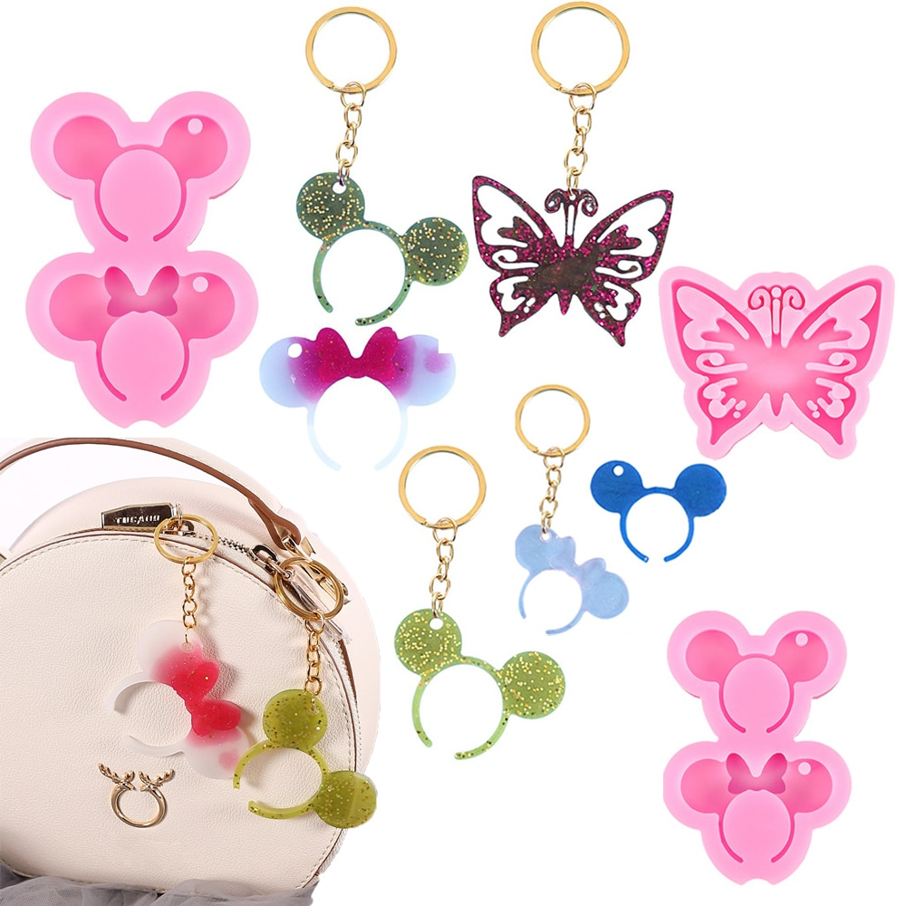 Silicone Casting Epoxy Mold For DIY Resin Pendant Hollow Butterfly Keychain Jewelry Tools UV Epoxy Handmade Craft Making Mould silicone mold for jewelry half ball flat round oblat cabochon pendant epoxy resin jewelry mould making craft moulds tools