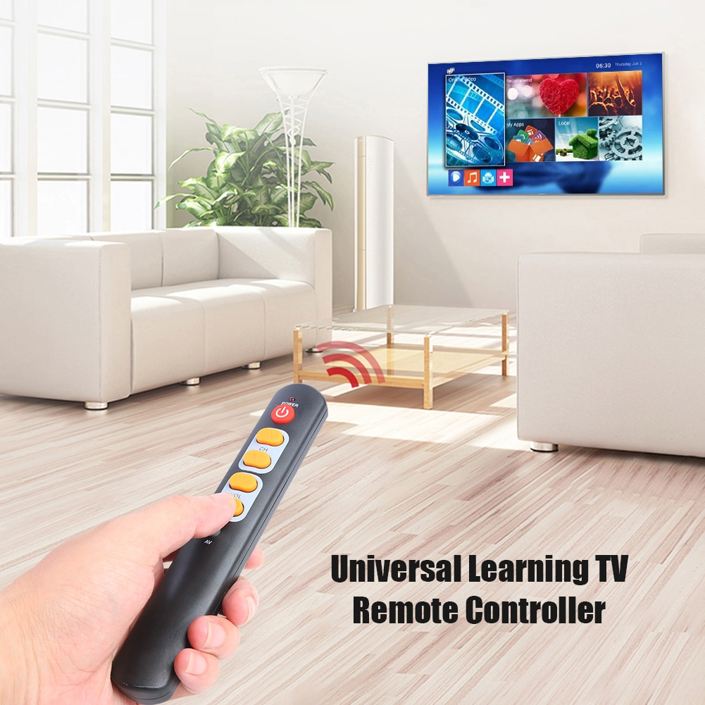 Universal 6 Big Yellow Button Learning Remote Control Copy IR Remote for TV STB Electronic Smart Home Accessories