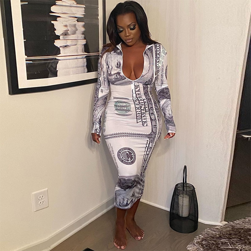 Sexy Dollar Print Maxi Dress Long Sleeve Zip Birthday Outfits for Women 2021 Summer Clothes Bodycon Night Club Dresses
