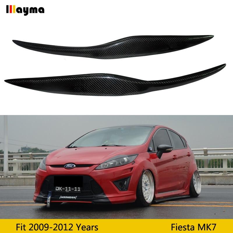 Auto Front Scheinwerfer Abdeckung Aufkleber Kopf Lampe Augenbraue Augenlid Abdeckungen Für Ford Fiesta facelift MK7 2009-2012 jahr carbon augenbrauen