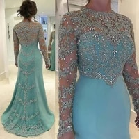 strass pearls appliques mother of the bride clothes mint green mermaid wedding dress sparkly longarm formal party clothes