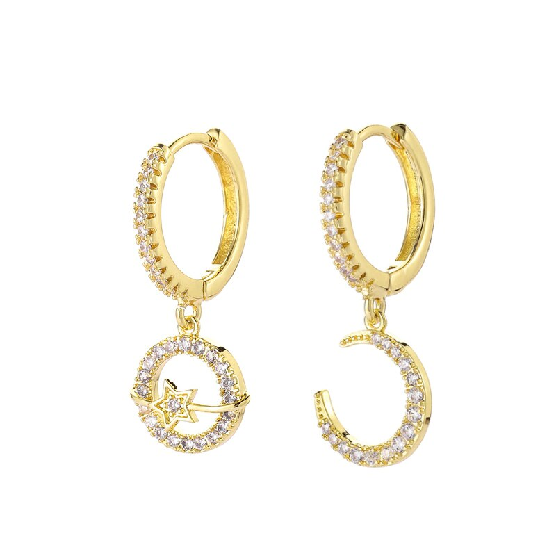 Trendy Cubic Zirconia Moon Star Earrings Fashion Korean Hoop Earrings For Women creoles d oreilles femme