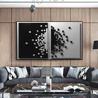 Cubes carres noirs et blancs pour decoration de maison moderne  toile dart abstraite  grande affiche et impression pour decoration murale de salon et de bureau