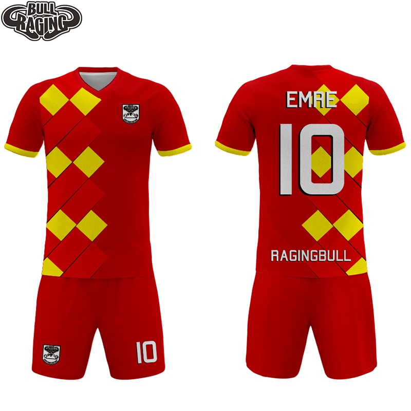Red Grid Design Custom Personal Sublimation Printing Soccer Uniform Soccer Jersey Short Sets Custommade Club Outfield Kits