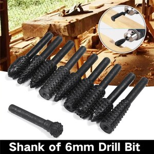 10Pcs 6mm Shank Wood Carving Rotary File Rasp Power Drill Bits Tool Micro Cutter Rotary Burr Tools
