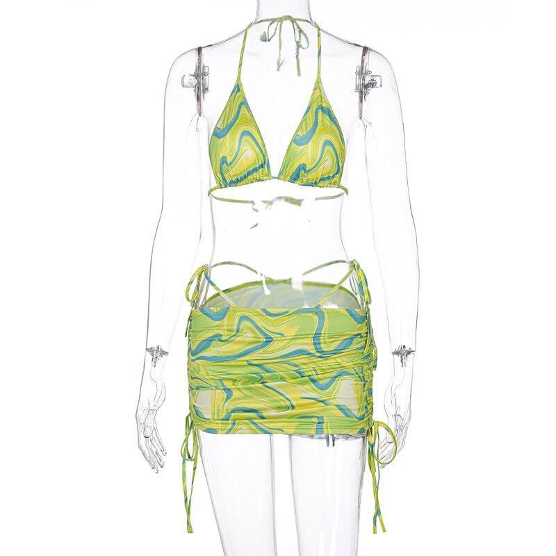 2021 Vintage Print Sexy Crop Top Bra Skirt 2 Piece Set Summer Women Holiday Bright Tracksuit