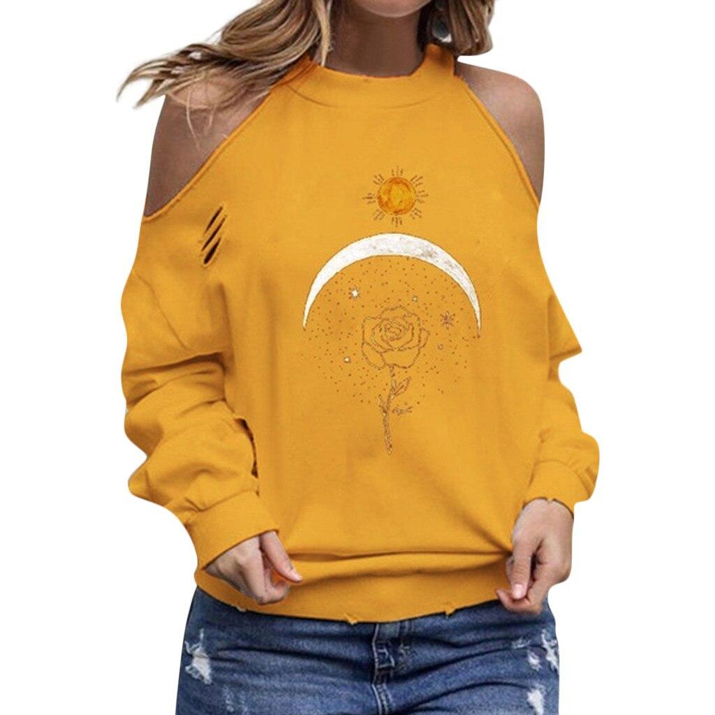 Новая Осенняя блузка женская модная Свободная блуза с открытыми плечами Повседневная Блузка с длинными рукавами и цветочным принтом зимние женские блузки для девочек 801