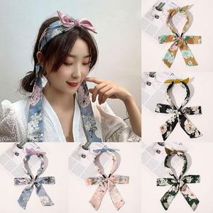 Korea Fashion Bowknot Hair Hoop Hair Accessories Big Flower Ribbon Headband Hair Scarf Hairband Braided Satin Bezel Headwear