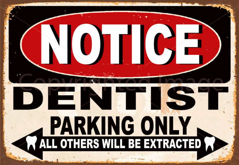 Letrero de estaño para estacionamiento de dentista, cartel de pared, solo placa...
