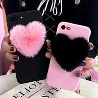 lovely 3d furry love hearts cute hair phone case for iphone x xr xs max 6 6s 7 8 plus 11 pro 12 se fashion soft tpu back cover
