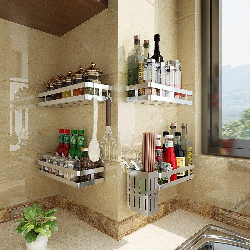 حامل حائط من الفولاذ المقاوم للصدأ ، منظم مطبخ مثبت على الحائط ، رف تخزين ، برطمان توابل ، ملحقات حمام