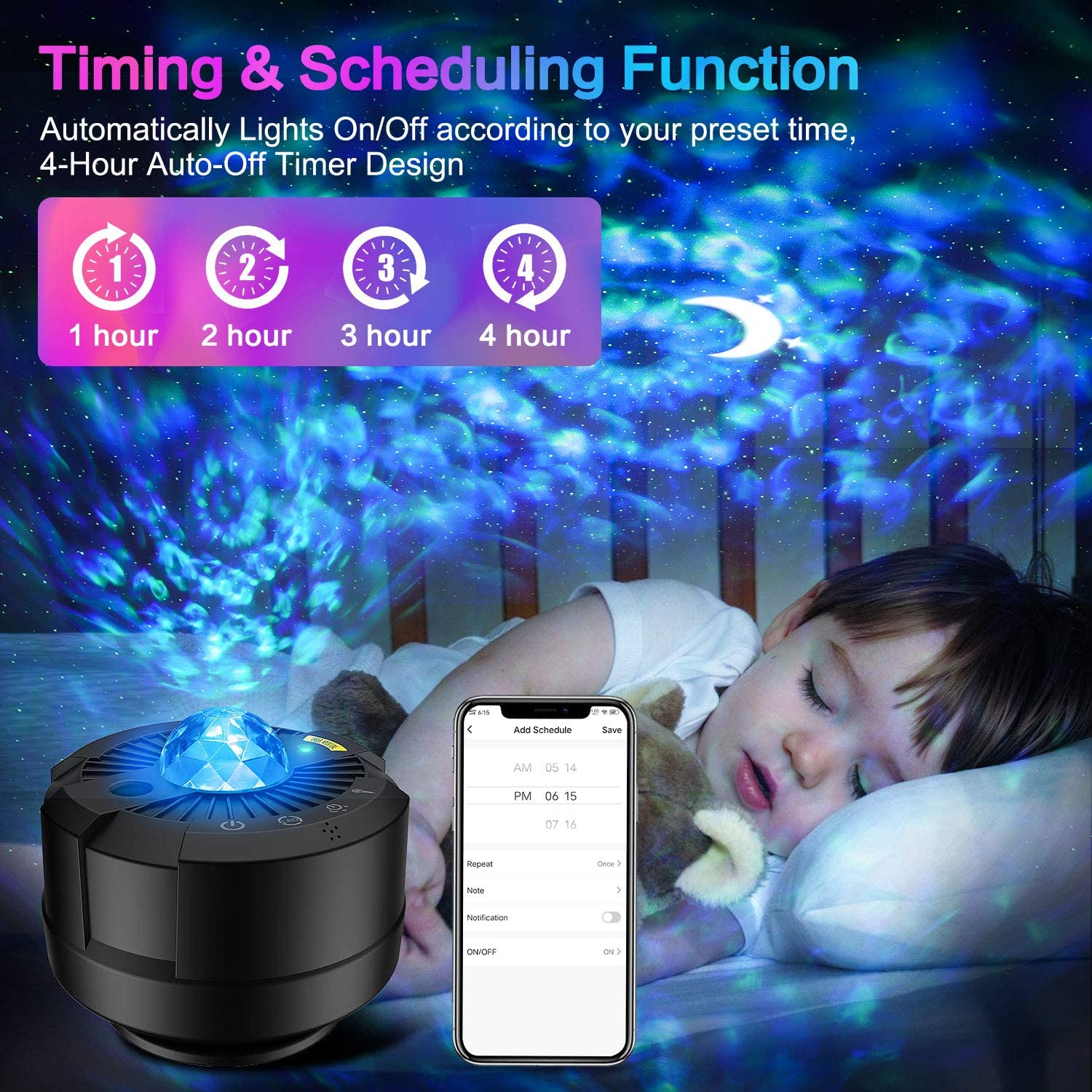 Star Projector Led Night Light Moon Galaxy Projection Bedroom Lighting Smart APP with Remote Control for Baby Kids Gifts enlarge