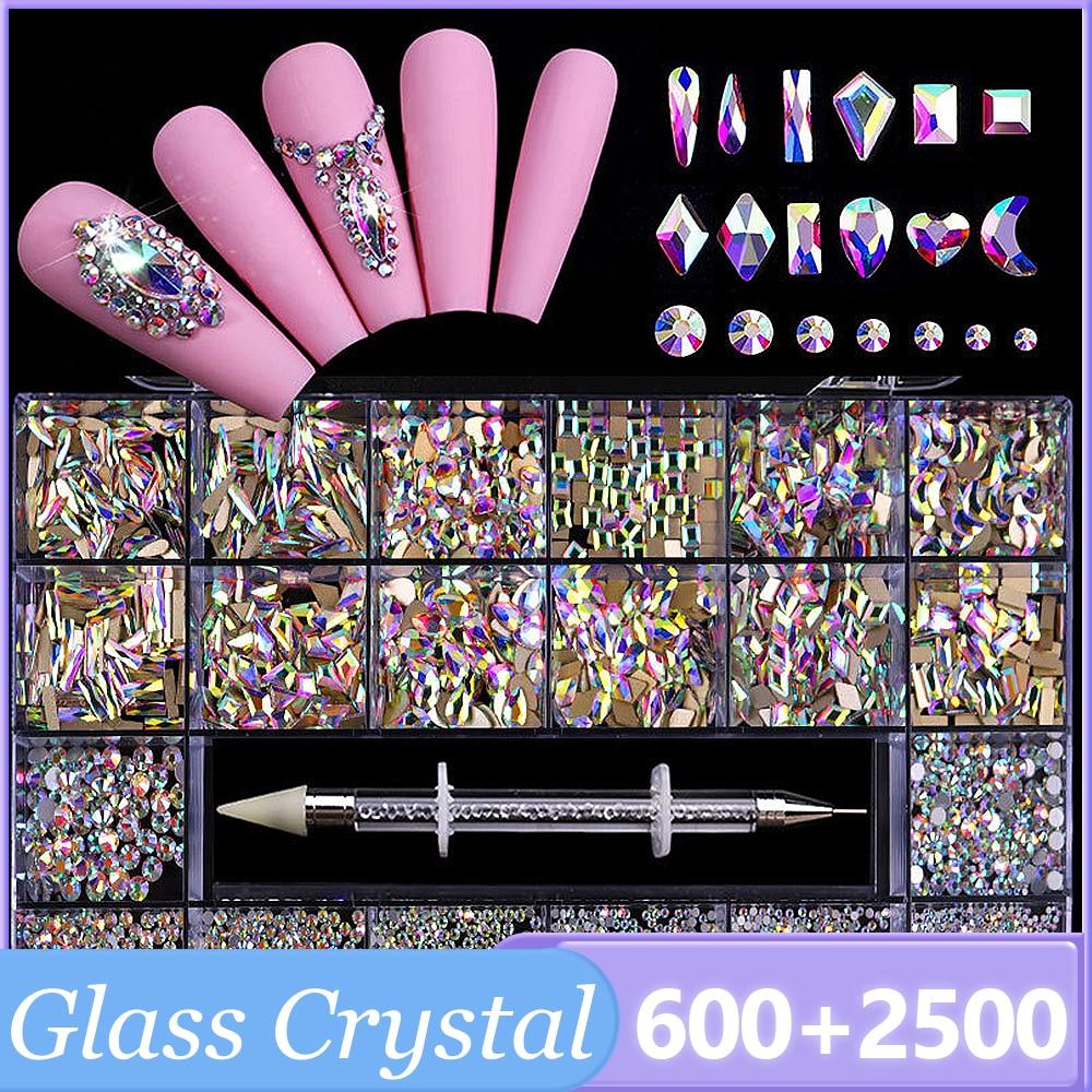 Flatback Nail Rhinestones Set 3D AB Large Glass Nail Art Set Crystal Acrylic Nails Decorations Boxed Mixed Size With Pick Up Pen