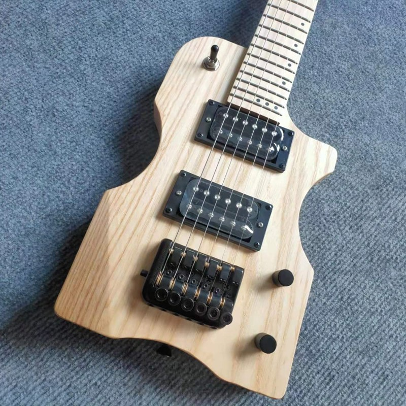 30 Inch Mini Headless Electric Guitar Ashwood Body Canada Maple Neck 6 Strings 24 Frets Bolt on Matte Natural Color with Gig Bag enlarge