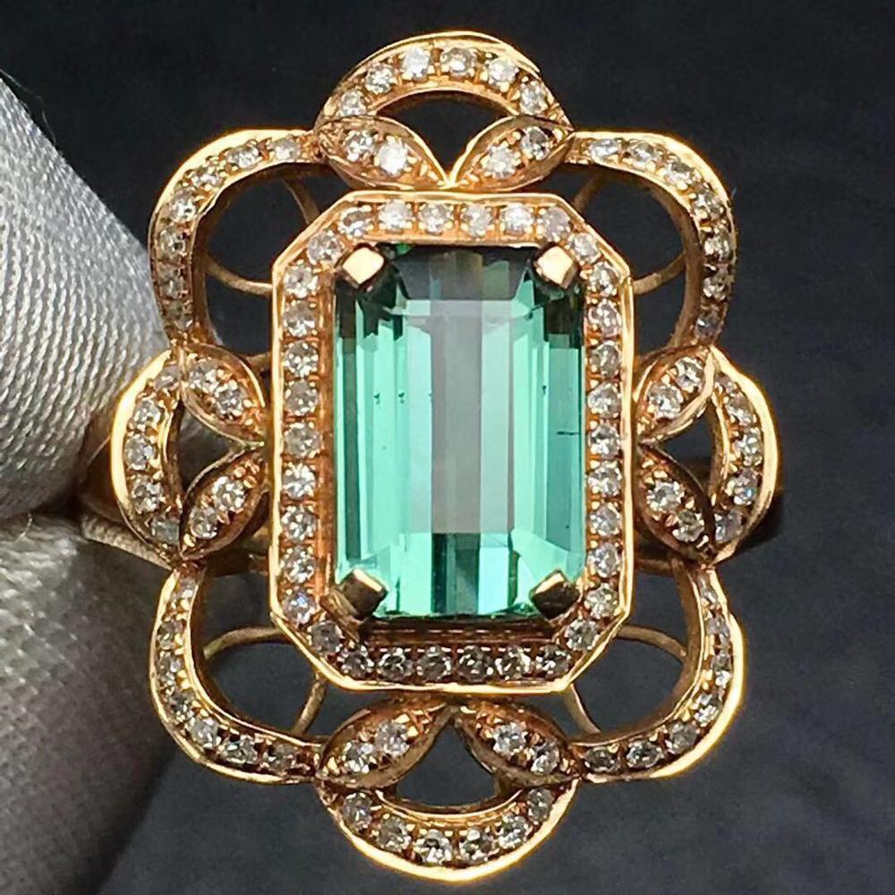 Tourmaline Ring 2.5ct Pure 18 K Gold Jewelry Natural Bluish Green Gemstones Diamonds Female's Rings for Women Fine Ring