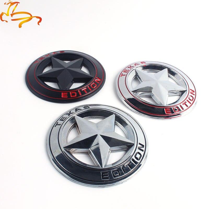 Metal Edición de Texas Shield pentagrama 3D emblema insignia coche guardabarros lateral cola cuerpo pegatina para JEEP Wrangler Liberty Grand cheroki