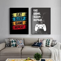 eat game sleep repeat canvas painting game player posters and prints wall art cuadros for living room home playroom decor