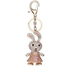 Delicate Rabbit Shape Keychain Women Rhinestone Key Ring Handbag Pendant Charming Bag Chain Bag Jewe