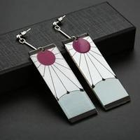 2021 trend anime earrings clip on fashion sweet love flower square dangle acrylic womens earrings female fashion jewelry for wo