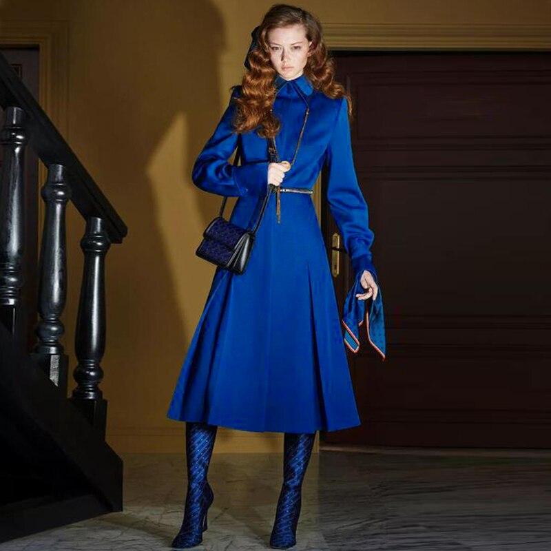 Женская однобортная ветровка с длинным рукавом, голубое винтажное праздничное повседневное пальто миди, Дизайнерский Жакет для осени