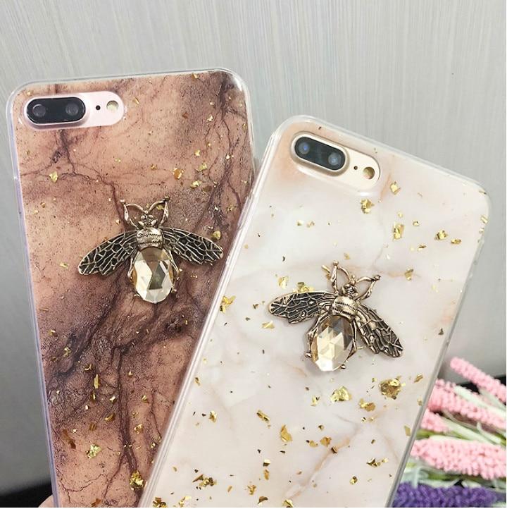 Funda de teléfono de mármol brillante de lámina de oro para iPhone 11 Pro Max 3D Metal Bee Soft Tpu cubierta para iPhone 7 8 6s Plus X XR XS MAX cubierta