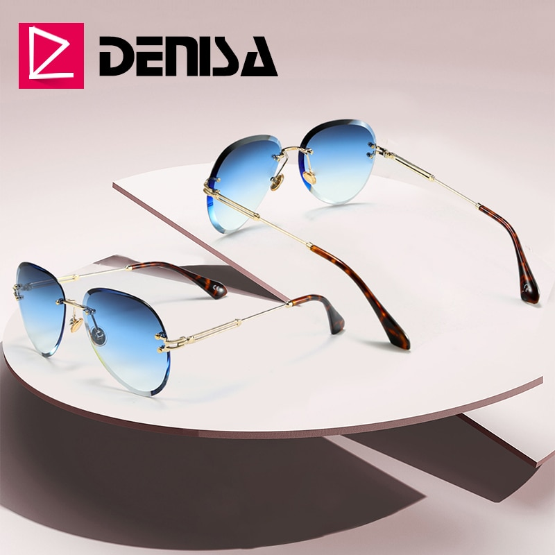 DENISA Fashion Blue Rimless Sunglasses Women 2019 UV400 Luxury Aviation Ladies Sunglasses Glasses Sh