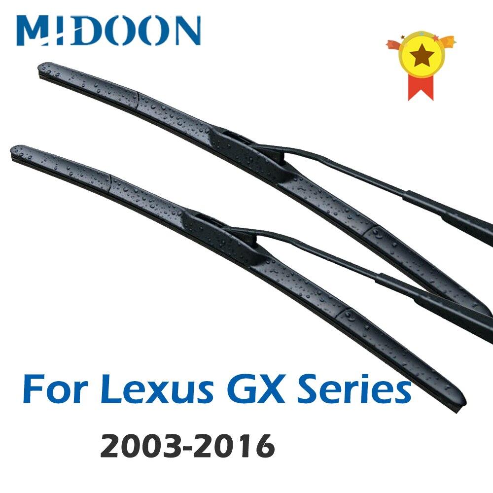 MIDOON parabrisas limpiaparabrisas híbridos para Lexus GX serie GX460 / GX470 ajuste gancho de armas