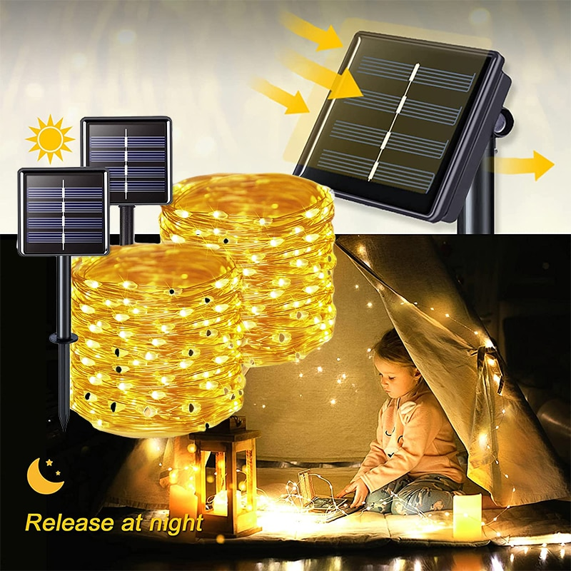 5/10/15/20m Solar Lamps Fairy LED light garden Decoration Waterproof panel for outdoor solar garland Holiday Christmas Party